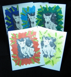 Set of five Bull Terrier cards