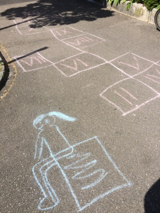 hopscotch chalk drawing