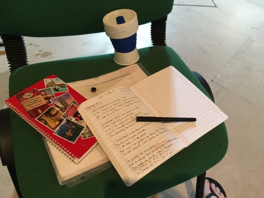 songwriting tools on a chair